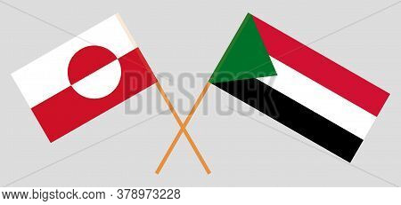 Crossed Flags Of Sudan And Greenland. Official Colors. Correct Proportion. Vector Illustration