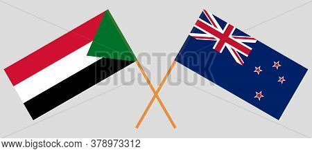 Crossed Flags Of Sudan And New Zealand. Official Colors. Correct Proportion. Vector Illustration