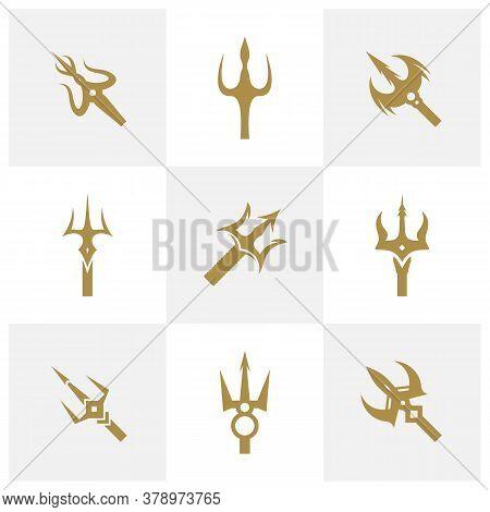 Set Of Trident Logo Design Vector. Icon Symbol. Template Illustration