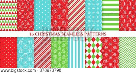 Christmas Seamless Pattern. Vector. Xmas, New Year Textures. Backgrounds With Ball, Tree, Gift Box,