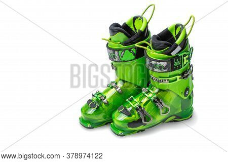Ski Boots Isolated On White Background. Modern, Green Ski Boots. Pair Of Ski Boots Isolated On White