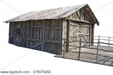 The Little Old Village Barn On White Background