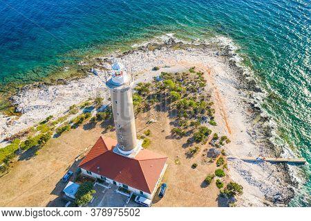 Beautiful Croatia, Apectacular Adriatic Seascape And Tower Of Lighthouse Of Veli Rat On The Island O