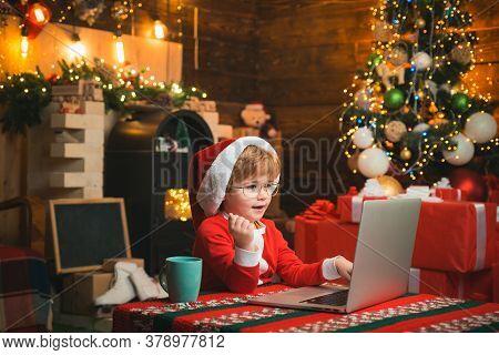 Child Type Letter To Santa. Wish List For Santa. Loft Style Lights Christmas Interior House. Christm