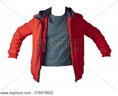 Red Jacket And Turquoise Sweater Isolated On White Background.bologna Jacket And Wool Sweater