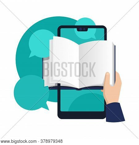 Online Education E-learning Concept - Read A Textbook From Smartphone App - Studying Digitalization