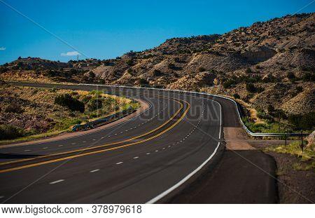 Road Trip In Arizona Desert. Beautiful Countryside Landscape. Western Utah Countryside Highway Durin