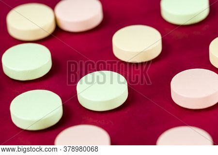 Several Different Tablets For The Treatment Of Diseases, Solid Tablets Close-up, Tablets Of Differen