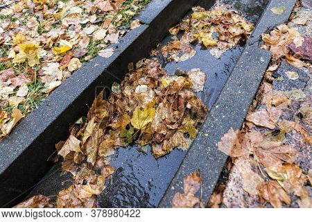 A Stormwater Drain For A Water Wall On The Road, A Close-up Of The Infrastructure For Draining Preci