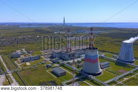 Aerial View Of A Thermal Power Plant. Combined Heat And Power Plant..