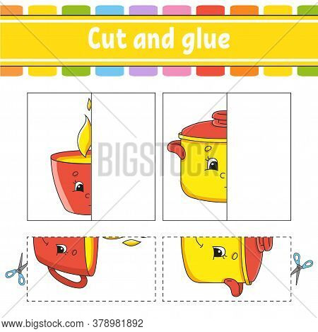 Cut And Play. Paper Game With Glue. Flash Cards. Education Worksheet. Activity Page. Funny Character