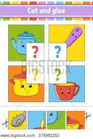 Cut And Glue. Set Flash Cards. Color Puzzle. Education Developing Worksheet. Activity Page. Game For