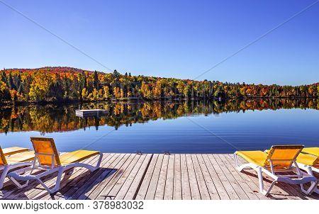 Dock On Lac-superieur, Mont-tremblant, Quebec, Canada