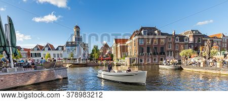 Leiden, Netherlands - July 21, 2020: Cityscape Leiden With Catharinabridge, Waterways, And Hartebrug