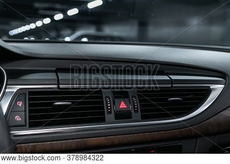 Novosibirsk/ Russia - July 27 2020: Audi A7, Close Up Car Ventilation System And Air Conditioning -
