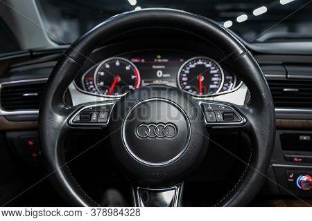 Novosibirsk/ Russia - July 27 2020: Audi A7, , Steering Wheel , Dashboard With Speedometer, Tachomet