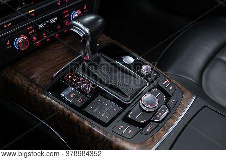 Novosibirsk/ Russia - July 27 2020: Audi A7, Gear Shift. Automatic Transmission Gear Of Car , Car In