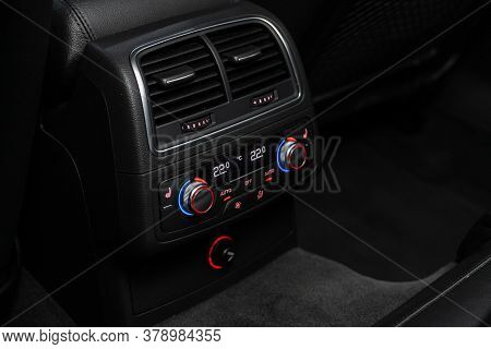 Novosibirsk/ Russia - July 27 2020: Audi A7, Vehicle Interior With Visible Climate Controls, Adjustm