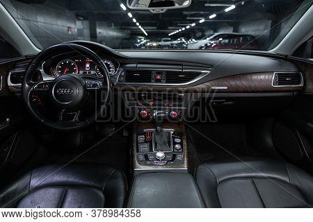 Novosibirsk/ Russia - July 27 2020: Audi A7, Luxury Car Interior - Steering Wheel, Shift Lever, Mult