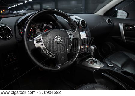 Novosibirsk/ Russia - July 18 2020: Nissan Qashgai, , Steering Wheel , Dashboard With Speedometer, T