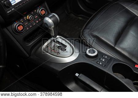 Novosibirsk/ Russia - July 18 2020: Nissan Qashgai, Gear Shift. Automatic Transmission Gear Of Car ,