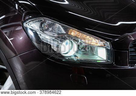Novosibirsk/ Russia - July 18 2020: Nissan Qashgai, Detail Light Close Up Of On New Car. Exterior De