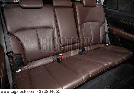 Novosibirsk/ Russia - July 18 2020: Subaru Outback, Rear Passenger Seats In Modern  Car, Frontal Vie