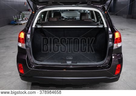 Novosibirsk/ Russia - July 18 2020: Subaru Outback, Rear View Of A Car With An Open Trunk. Exterior