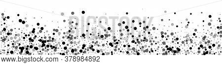 Scattered Dense Balck Dots. Dark Points Dispersion On White Background. Beauteous Grey Spots Dispers