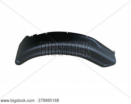 Black Plastic Liner Isolated On A White Background. Mudguard Auto Shop For Repair Or A Device To Pro