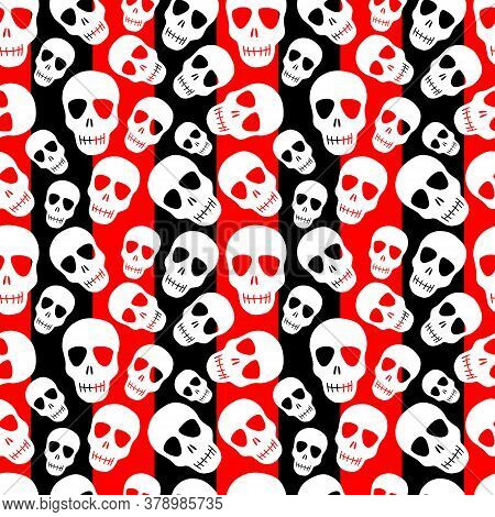 A Skull Pattern On A Black-and-red Striped Background.seamless Pattern With White Skulls.design For