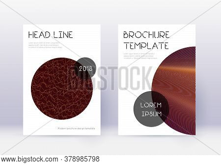 Trendy Cover Design Template Set. Orange Abstract Lines On Wine Red Background. Glamorous Cover Desi