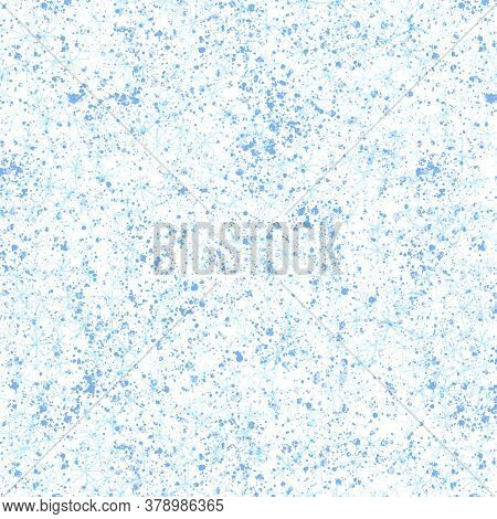 Hand Drawn Blue Snowflakes Christmas Seamless Pattern. Subtle Flying Snow Flakes On White Background