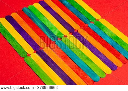Multicolored Ice Cream Wooden Sticks