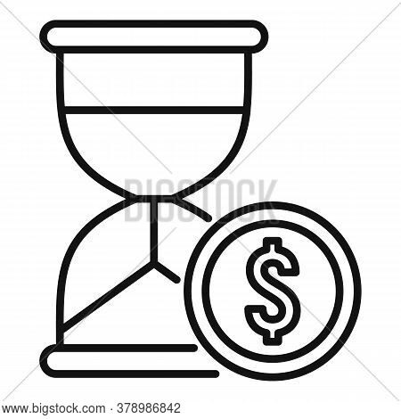 Money Hourglass Online Loan Icon. Outline Money Hourglass Online Loan Vector Icon For Web Design Iso