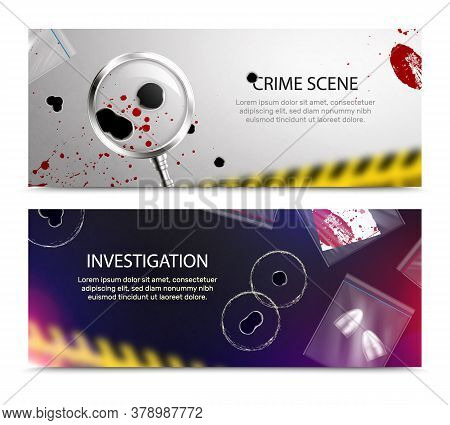 Criminalistic Detective Horizontal Banners Set With Realistic Closeup Blood Spots And Bullet Holes A