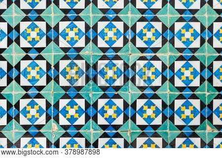 Detail Of Old Beautiful Portuguese Glazed Tiles.