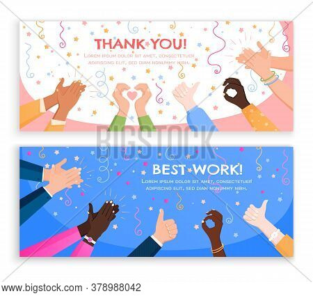 Clapping Ok Heart Hands Applause Set Of Horizontal Banners With Editable Text And Flat Holiday Image