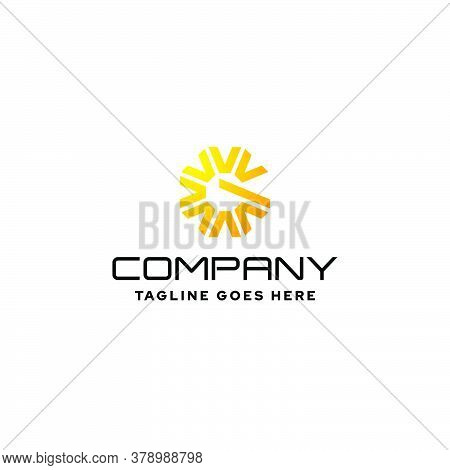 Yellow Abstract Logo That Combines The Shape Of The Sun And The Letter G. Suitable For Energy Compan