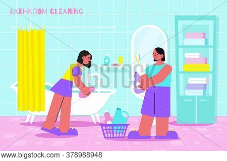 Bathroom Cleaning Flat Composition With 2 Women Scrubbing Bathtub Surface With Dipped In Cleanser Sp