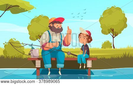 Grandpa And Grandson Fishing Background With Pastime Symbols Flat Vector Illustration