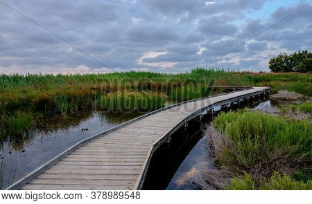 Marjal Del Moro Wetland Nature Reserve Footbridges On The Water In Valencia Spain