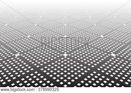 Abstract geometric checked pattern and textured background in diminishing pespective.