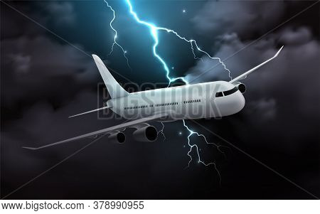 Airplane Night Storm Realistic Composition With Image Of Passenger Jet In Thunderstorm Clouds With T