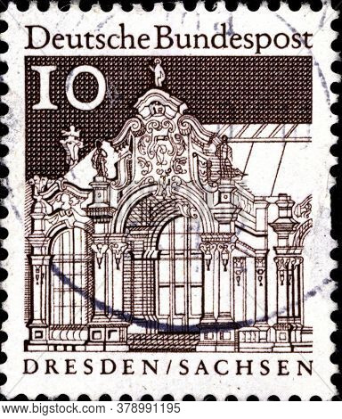 02 09 2020 Divnoe Stavropol Territory Russia The Postage Stamp Germany 1964 German Building Structur