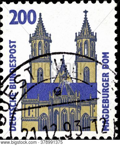 02 09 2020 Divnoe Stavropol Territory Russia The Postage Stamp Germany 1993 Sights Madgeburg Cathedr