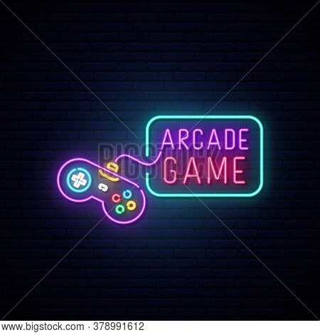 Game Controller Neon Sign. Bright Light Joystick On Darck Brick Wall Background. Arcade Game Concept