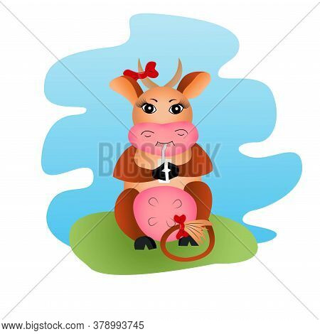 Brown Cheerful Horned Cow With A Glass Of Milk, With A Bow On The Tail And Horn. Vector Children Ill