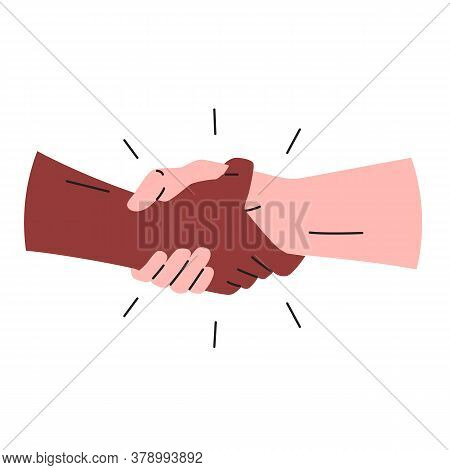 Handshake Icon. Vector Illustration Of Two Muscular Hands Making A Sport Style Handshake. Black And