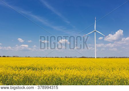 In The Yellow Canola Field Stands A White Turbogenerator, Against The Sky With Clouds, The Concept